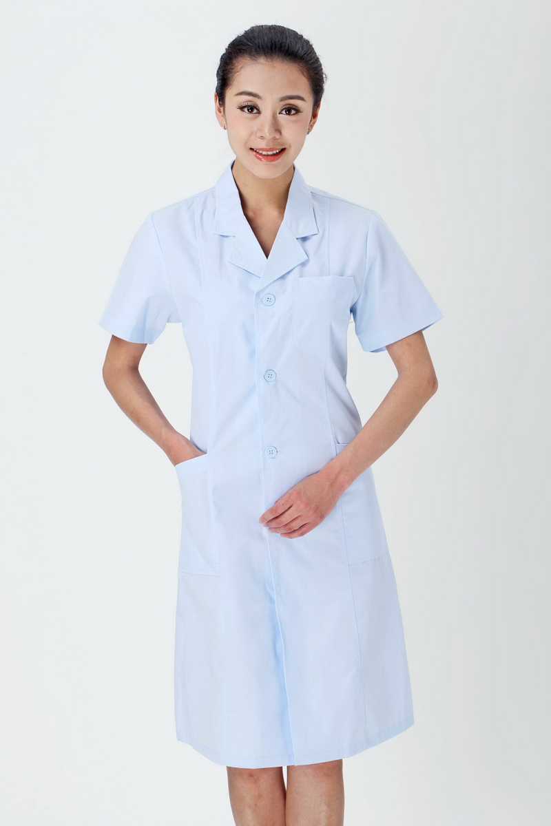 Female doctor's blue summer clothing