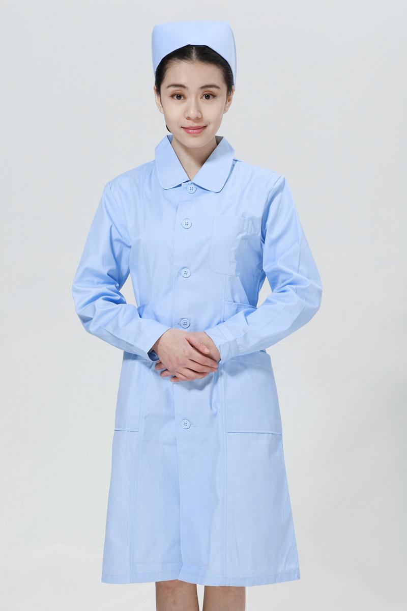 蓝色护士服冬款大娃娃领