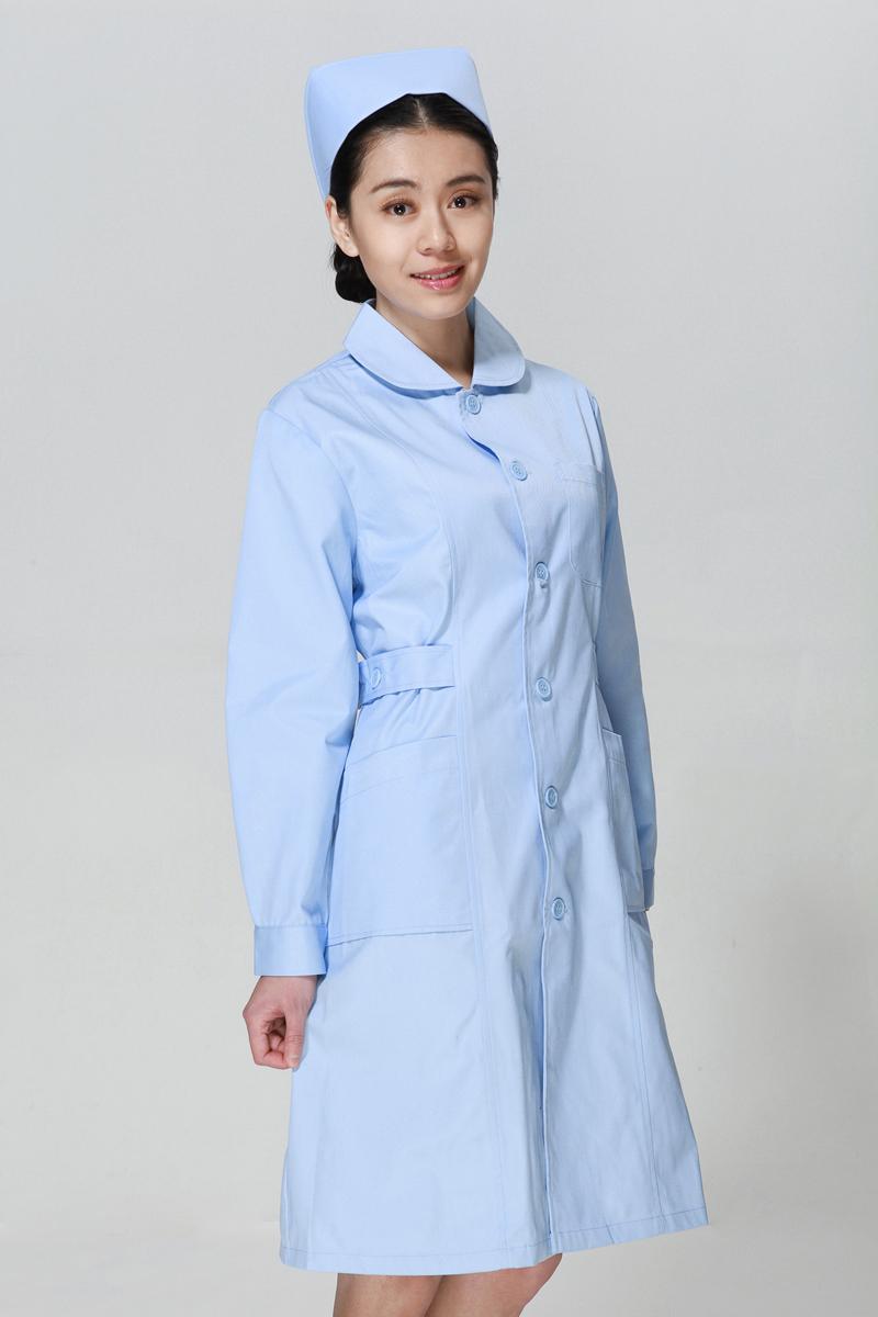 蓝色护士服冬款娃娃领