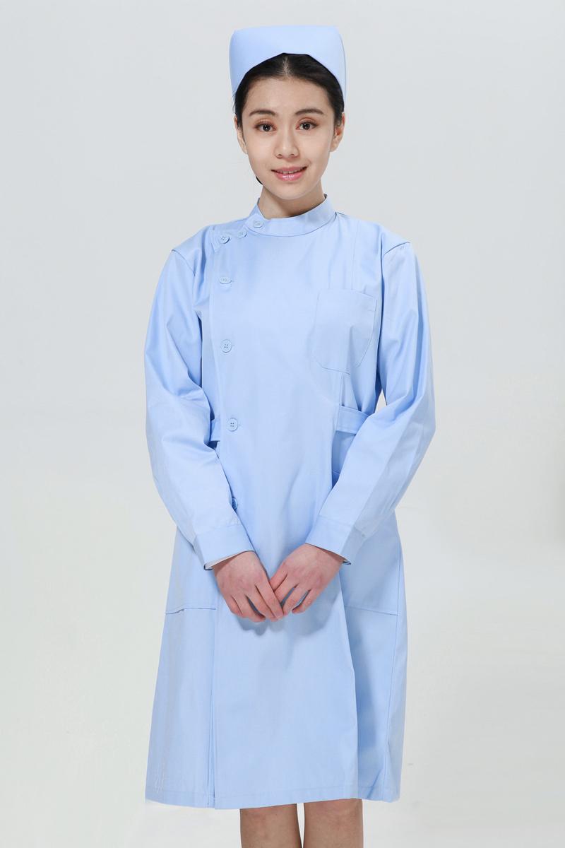 蓝色护士服冬款右偏襟立领