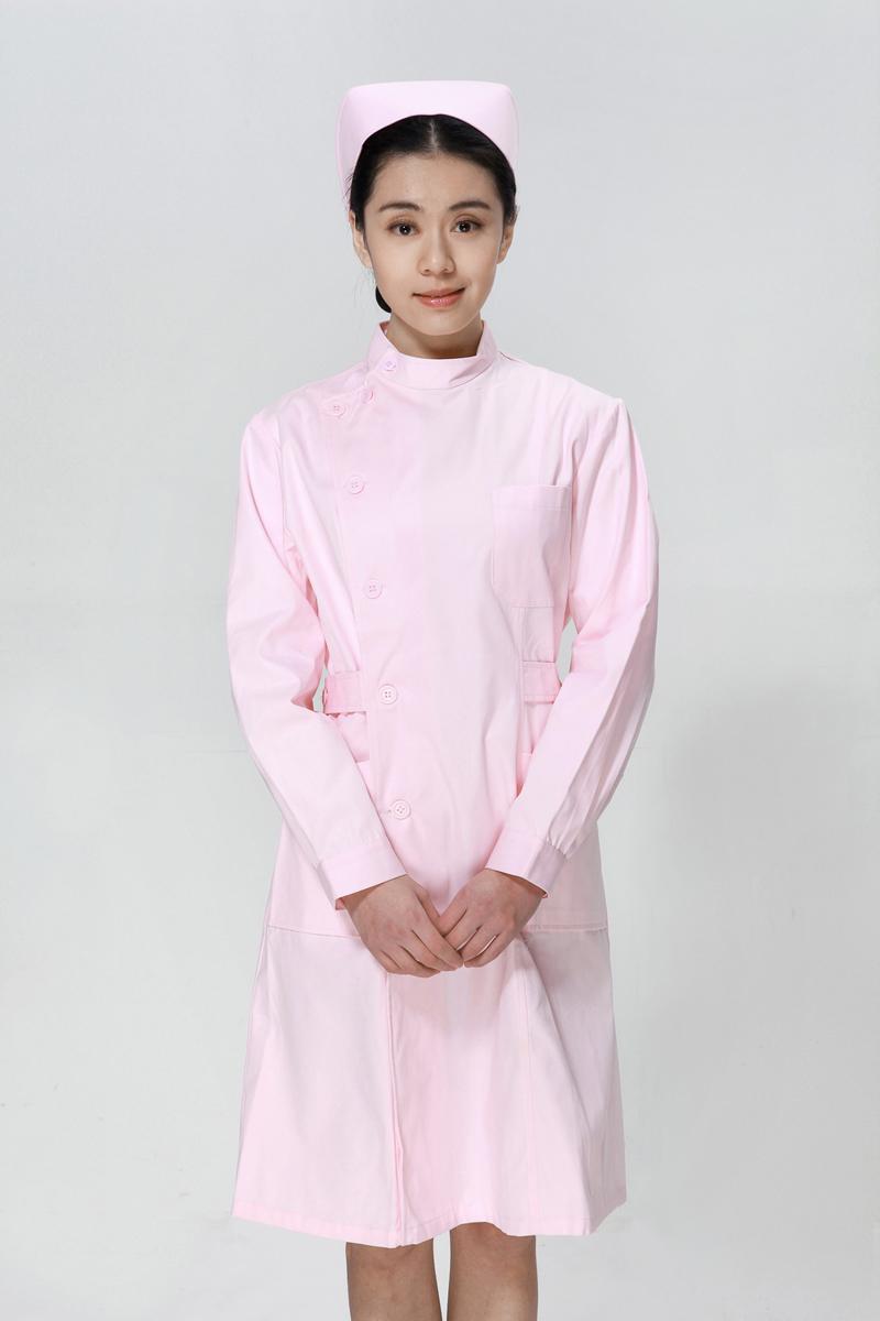 粉色护士服冬款右偏襟立领