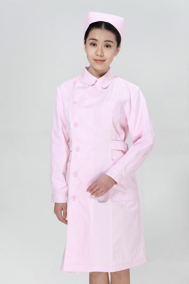 粉色护士服冬款右偏襟尖领
