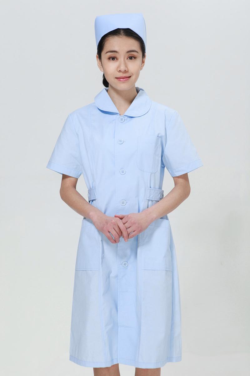 蓝色护士服夏款娃娃领