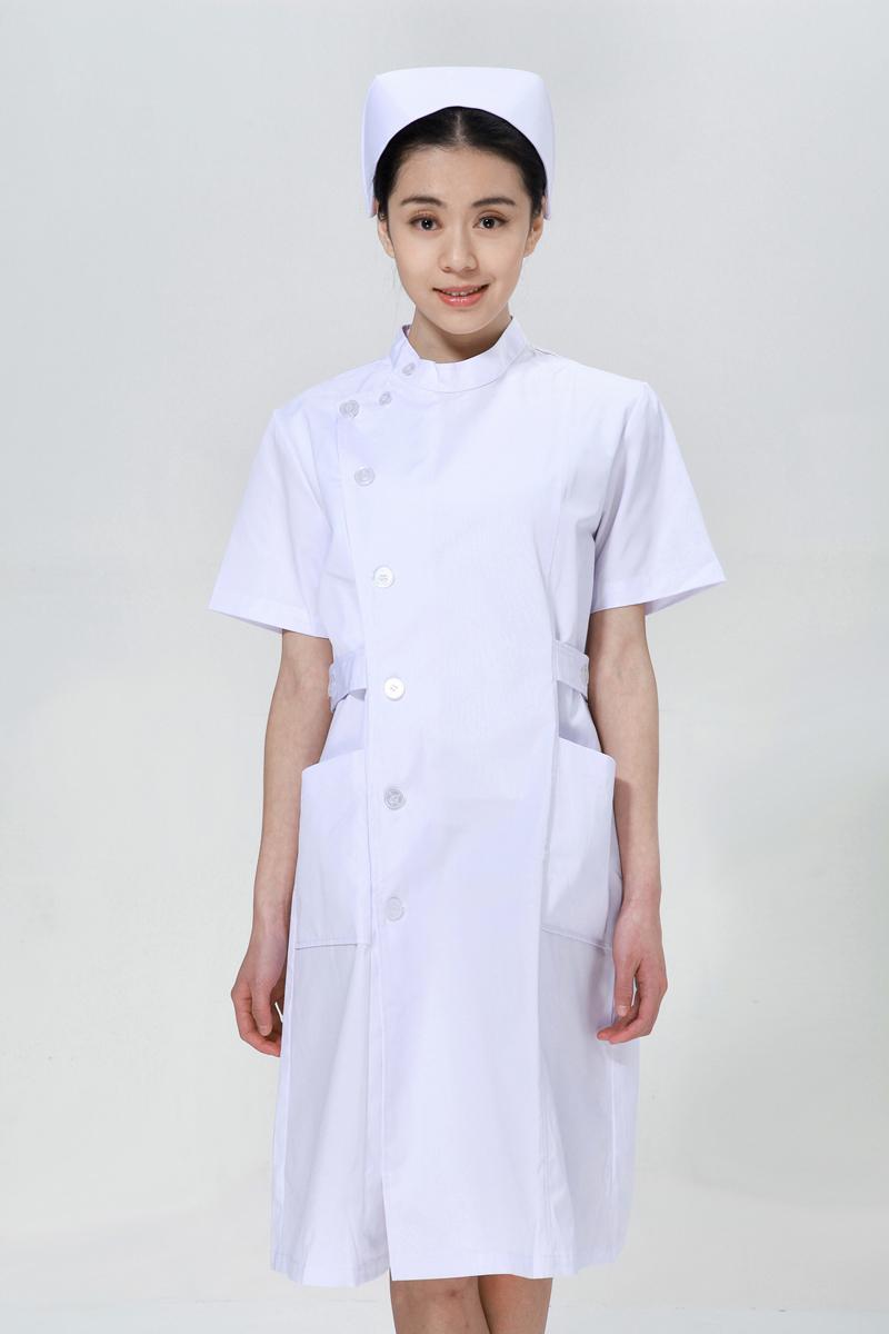 白色护士服夏装右偏襟立领