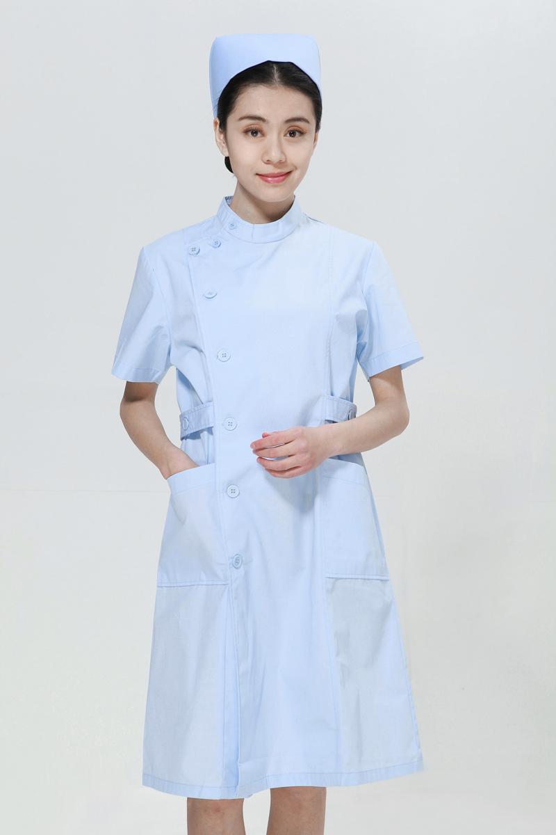 蓝色护士服夏装右偏襟立领