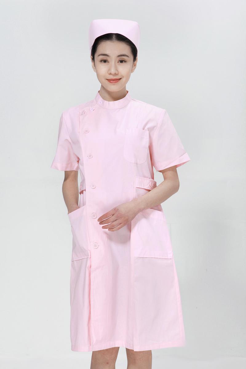 粉色护士服夏装右偏襟立领
