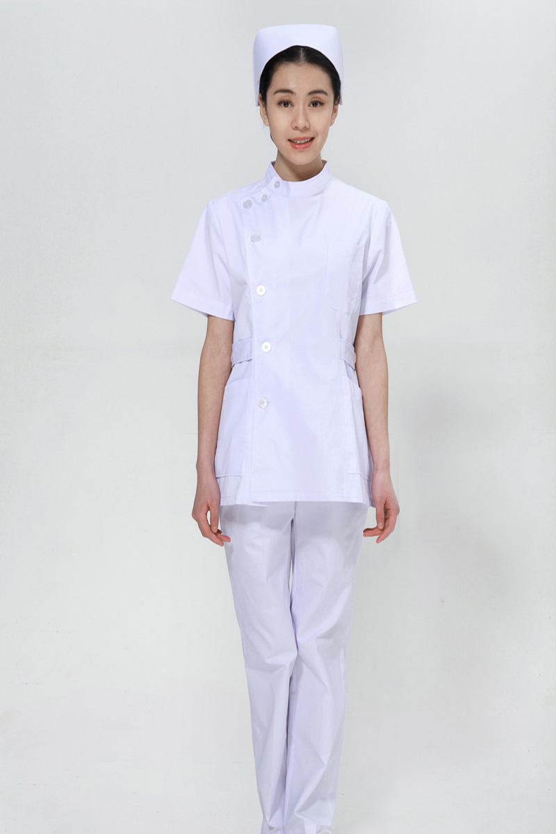 White nurse summer suit right side opening collar